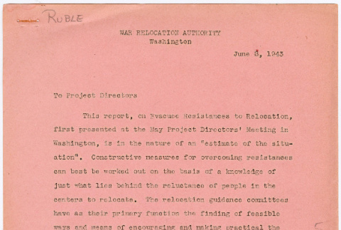 Project directors report on evacuee resistances to relocation (ddr-densho-381-6)