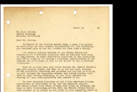 Letter from Tsuneo Iwata to Dr. E.A Julien, April 11, 1942 (ddr-csujad-46-10)