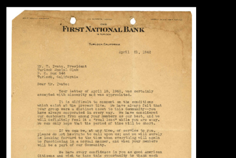 Letter from Roy E. Weaver to Tsuneo Iwata, April 21, 1942 (ddr-csujad-46-18)