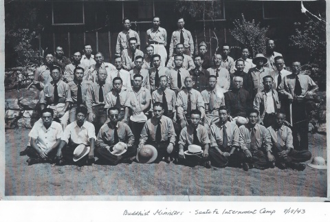 Buddhist ministers at Sante Fe internment camp (ddr-densho-310-1)
