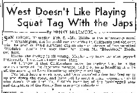 West Doesn't Like Playing Squat Tag With the Japs (February 5, 1942) (ddr-densho-56-599)