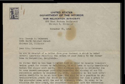 Letter from W.W. Lessing, Relocation Officer, War Relocation Authority, to Mrs. George H. Nakamura, November 25, 1945 (ddr-csujad-55-2450)