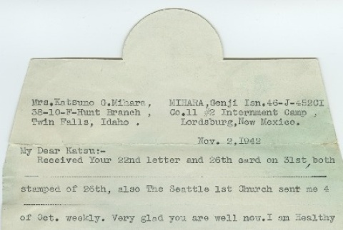 Letter from Issei man to wife (November 2, 1942) (ddr-densho-140-147)