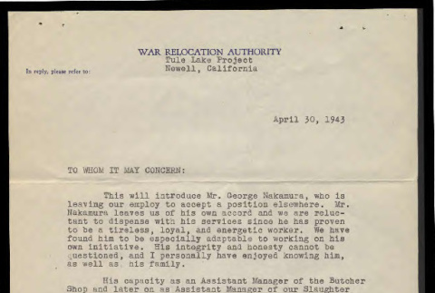 Letter from Ralph E. Peck, Project Steward, to whom it may concern, April 30, 1943 (ddr-csujad-55-2177)