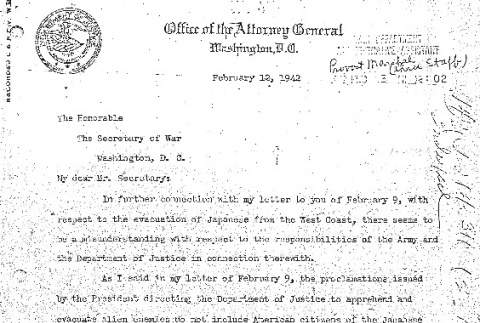Letter from Francis Biddle to Henry Stimson (ddr-densho-67-99)