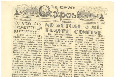 Rohwer Outpost: Vol. 6, No. 13 (February 7, 1945) (ddr-janm-6-4)