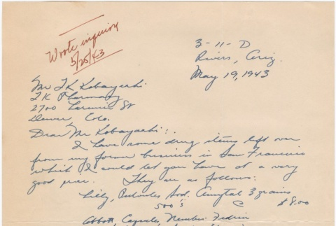 Letter sent to T.K. Pharmacy from Gila River concentration camp (ddr-densho-319-286)