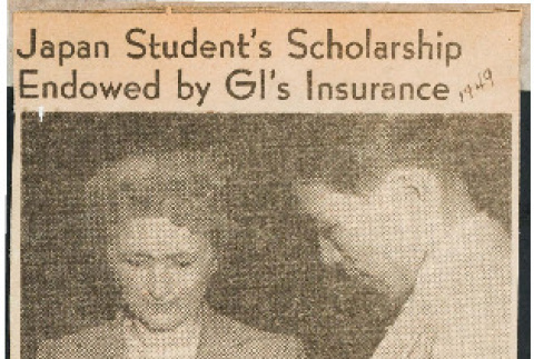 Japan student's scholarship endowed by GI's insurance (ddr-csujad-49-25)