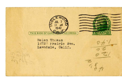 Advertisement postcard from the Thos. H. Fillmore Insurance Agency to Helen Thomas, July 3, 1942 (ddr-csujad-4-4)