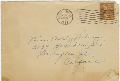 Christmas card (with envelope) to Molly Wilson from Miyeko Imamura (December 14, 1943) (ddr-janm-1-65)