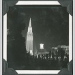 Night view of a tower and fountain at the Golden Gate International Exposition (ddr-densho-300-176)