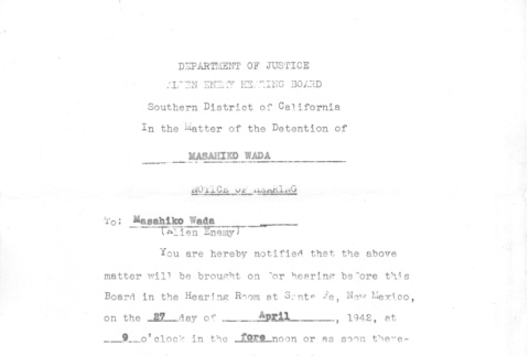 Department of Justice hearing notice (ddr-densho-157-200)
