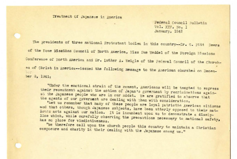 Treatment of Japanese in America; Churches and Enemy Aliens; Japanese- Americans to be resettled (ddr-csujad-19-75)