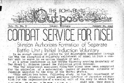 Rohwer Outpost Vol. II No. 9 (January 30, 1943) (ddr-densho-143-28)
