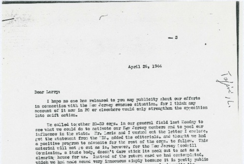 Letter to Larry Tajiri from Margaret Anderson, editor of Common Ground (ddr-densho-338-448)