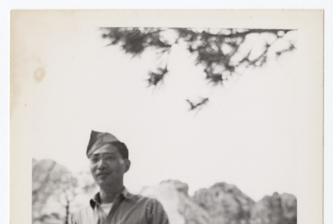 Tokeo Tagami at the foot of a mountain (ddr-densho-404-425)