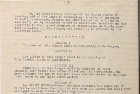 Signed constitution of the Valley Civic League (ddr-densho-277-2)