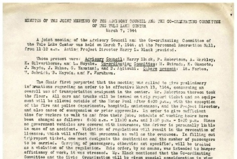 [Minutes of the joint meeting of the advisory council and the Co-ordinating Committee of the Tule Lake Center, March 7,1944] (ddr-csujad-2-22)