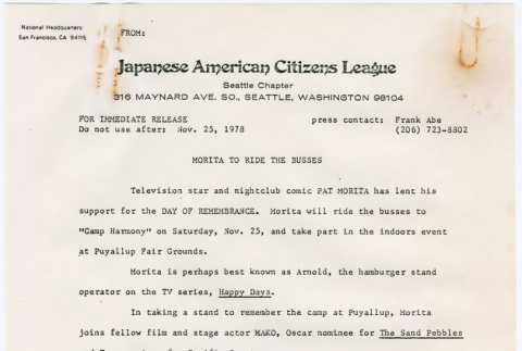 Press Release re: participation of Actor Pat Morita in Day of Remembrance in Puyallup (ddr-densho-122-356)
