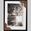 A figure stands in a wooded area (ddr-densho-404-17)