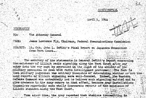 Memo from James Fly to Francis Biddle (ddr-densho-67-77)
