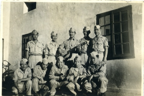 Group of soldiers with a guitar and ukelele (ddr-densho-22-356)