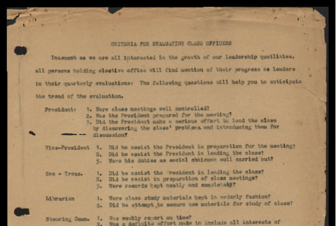 Criteria for evaluating class officers (ddr-csujad-55-1801)
