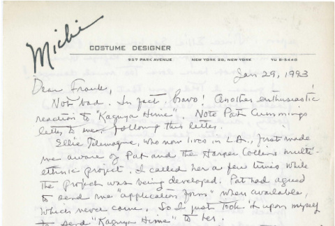 Letter from Michi Weglyn to Frank Chin, January 29, 1993 (ddr-csujad-24-118)