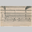 Drawing of the inside of a classroom at Tanforan Assembly Center (ddr-densho-392-22)