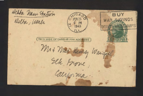 Postcard to Mr. and Mrs. Henry Waegell, February 26, 1943 (ddr-csujad-55-2559)