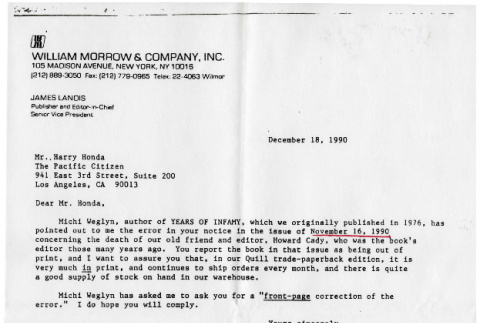Letter from James Landis, Publisher and Editor-in-Chief, William Morrow and Company to Harry Honda, Pacific Citizen, December 18, 1990 (ddr-csujad-24-114)