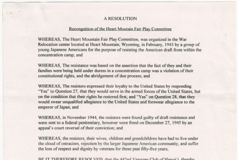Resolution in Recognition of the Heart Mountain Fair Play Committee (ddr-densho-122-584)
