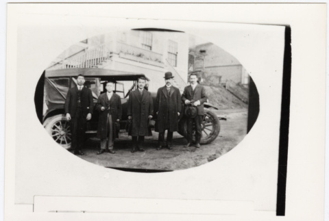 Five men stand outside the Seattle Betsuin Buddhist Temple (ddr-sbbt-6-1)