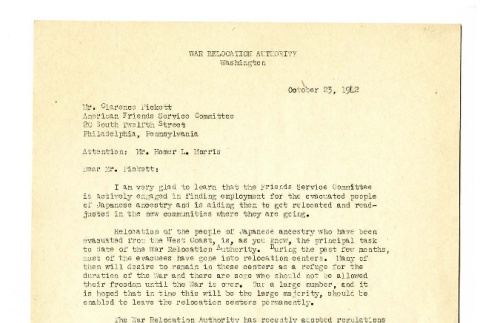 Letter from the WRA Director to Mr. Clarence Pickett, October 23, 1942 (ddr-csujad-18-13)