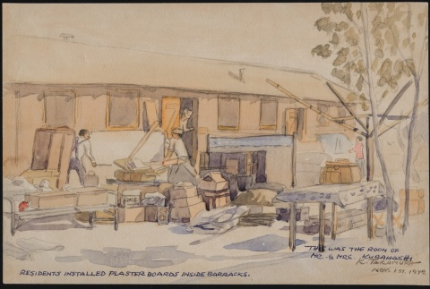 Painting of Japanese Americans making improvements to barracks (ddr-manz-2-62)