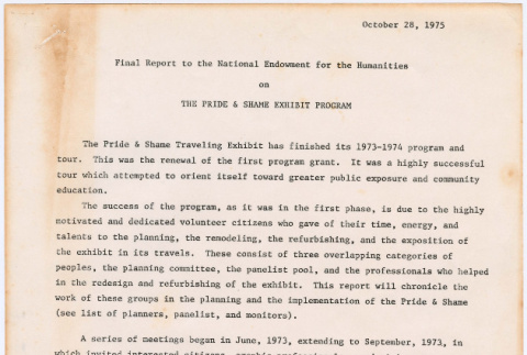 Final Report to the National Endowment for the Humanities on The Pride and Shame Exhibit Program (ddr-densho-122-130)