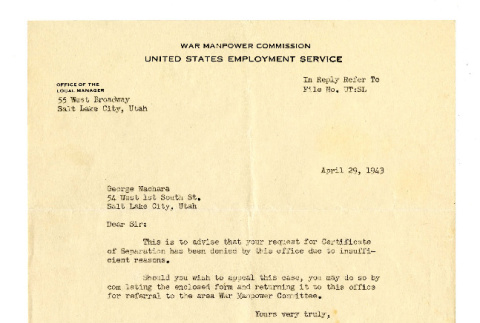 Letter from Wilbur E. Peacock, Manager, and H. L. Gee, Senior Interviewer, War Manpower Commission, United States Employment Service, to George Naohara, April 29, 1943 (ddr-csujad-38-556)