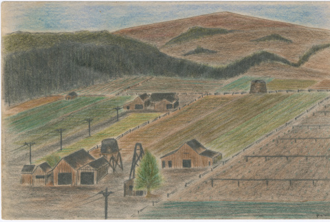Drawing of the view from the top of the grandstand at Tanforan Assembly Center (ddr-densho-392-12)