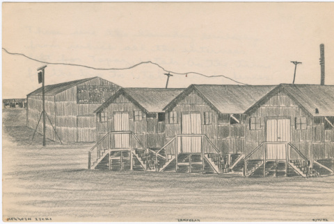 Drawing of the laundry buildings at Tanforan Assembly Center (ddr-densho-392-10)