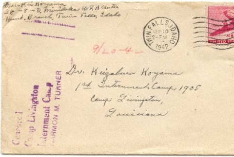 Envelope and letters to Dr. Keizaburo