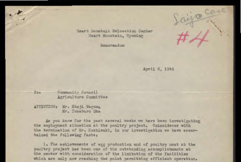 Memo from Glen Hartman, Chief of Agriculture, Heart Mountain Relocation Center, to Community Council Agriculture Committee, April 6, 1944 (ddr-csujad-55-924)