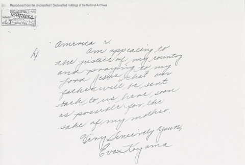 Letter from Eva Koyama to Edward J. Ennis, Director, Alien Enemy Control Unit. Page 5 of 5. (ddr-one-5-217)