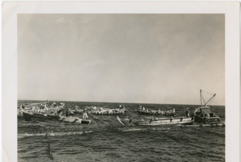 Fishing boats hauling in the day's catch (ddr-densho-299-11)