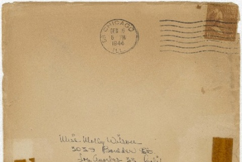 Christmas card (with envelope) to Molly Wilson from Sandie Saito (December 16, 1944) (ddr-janm-1-24)