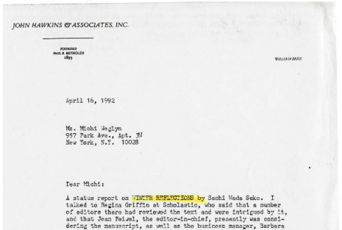 Letter from William Reis to Michi Weglyn, April 16, 1992 (ddr-csujad-24-122)