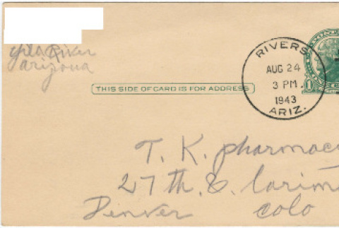 Letter sent to T.K. Pharmacy from Gila River concentration camp (ddr-densho-319-300)