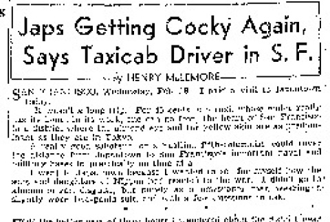 Japs Getting Cocky Again, Says Taxicab Driver in S.F. (February 18, 1942) (ddr-densho-56-634)