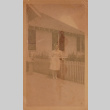 A nurse in front of the hospital at Gila River (ddr-densho-315-19)