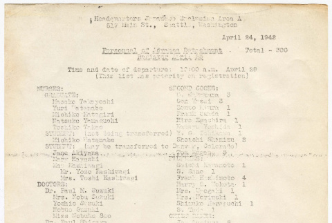 Camp Harmony, Advance Detachment Personnel Roster, to report April 28, 1942 (ddr-densho-122-849)
