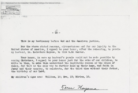 Typed and notarized letter from Teru Koyama to Edward J. Ennis, Director, Enemy Alien Control Unit. Page 13 of 13. (ddr-one-5-240)
